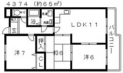ネオシティ道明寺[206号室号室]の間取り