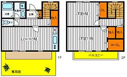 [テラスハウス] 東京都昭島市大神町2丁目 の賃貸【東京都/昭島市】の間取り