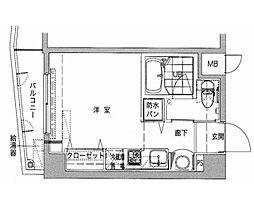 プレステージ東長崎 6階1Kの間取り