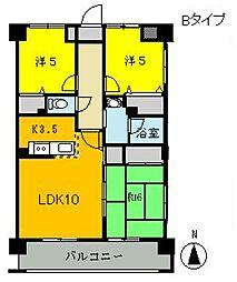 埼玉県北本市緑2丁目の賃貸マンションの間取り