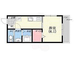 阪神本線 西宮駅 徒歩8分の賃貸マンション 2階1Kの間取り