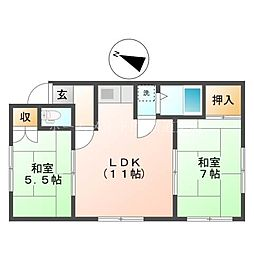 マルイマンションA棟[3階]の間取り