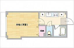 JR山陽本線 西川原駅 徒歩2分の賃貸マンション 2階1Kの間取り