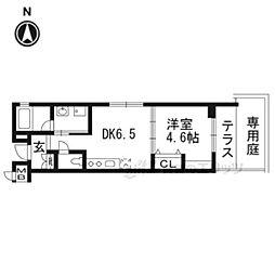 京都地下鉄東西線 二条城前駅 徒歩8分の賃貸マンション 1階1DKの間取り