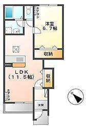 笠間市美原新築アパート[101号室号室]の間取り