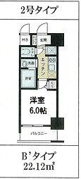 LiveCasa本町 4階1Kの間取り