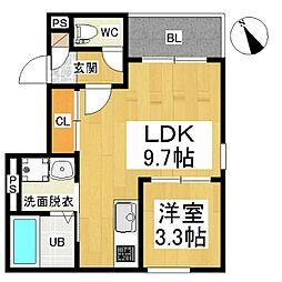 名鉄名古屋本線 山王駅 徒歩7分の賃貸アパート 3階1LDKの間取り
