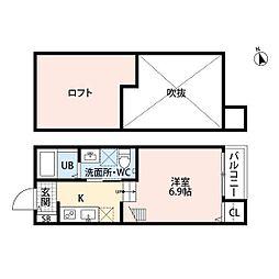 西鉄貝塚線 和白駅 徒歩5分の賃貸アパート 1階ワンルームの間取り