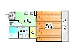 大阪府羽曳野市古市4丁目の賃貸アパートの間取り