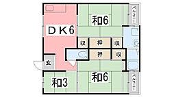 ビレッジハウス宮の前3号棟[301号室]の間取り