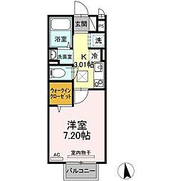 JR山陽本線 笠岡駅 3.1kmの賃貸アパート 2階1Kの間取り