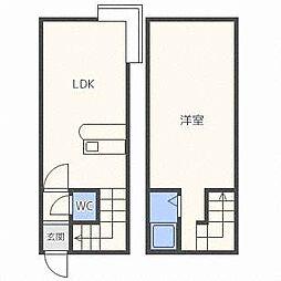 北海道札幌市白石区菊水七条3丁目の賃貸アパートの間取り