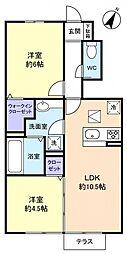 千葉県船橋市芝山5丁目の賃貸アパートの間取り