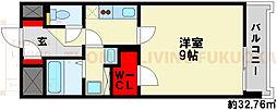 エントピアIII 6階1Kの間取り