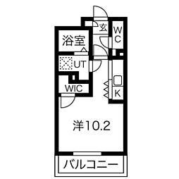 AXIA亀島 3階1Kの間取り