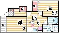 大阪府大東市三箇3丁目の賃貸アパートの間取り