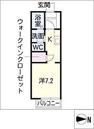 グリーンフジIII 1階ワンルームの間取り