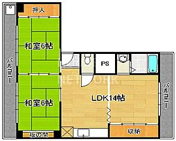第23長栄京米ビルマンション[401号室号室]の間取り