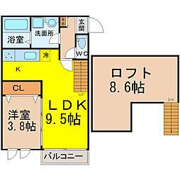 愛知県名古屋市中川区上高畑2丁目の賃貸アパートの間取り