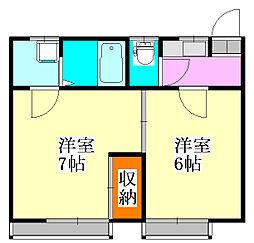 柚原荘[5号室]の間取り