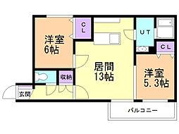 Graneige yamahana 4階2LDKの間取り