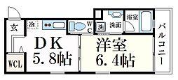 阪神本線 御影駅 徒歩6分の賃貸マンション 1階1DKの間取り