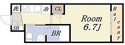 エグゼ大阪ドーム 7階1Kの間取り