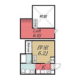 千葉県千葉市花見川区花園2の賃貸アパートの間取り