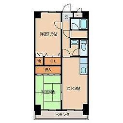 愛知県一宮市伝法寺4丁目の賃貸マンションの間取り