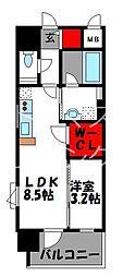 CINQ IWASE BLD 4階1LDKの間取り