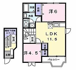 千葉県木更津市高柳の賃貸アパートの間取り