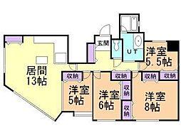 北海道札幌市東区北二十六条東16丁目の賃貸マンションの間取り