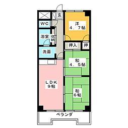 ベルシャイン竹原B[5階]の間取り