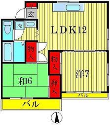 チェスナッツTOWA[2階]の間取り