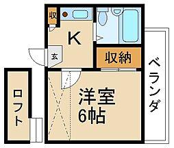 大阪府枚方市南中振2丁目の賃貸アパートの間取り