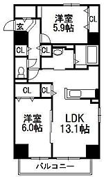 北海道札幌市中央区南四条西9丁目の賃貸マンションの間取り