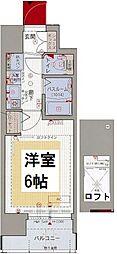 エステムコート難波WEST-SIDE大阪ドーム前 2階1Kの間取り