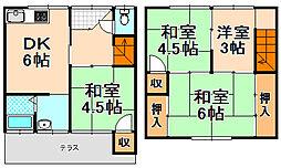 [テラスハウス] 兵庫県伊丹市緑ケ丘3丁目 の賃貸【兵庫県 / 伊丹市】の間取り