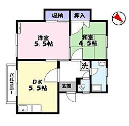 河津マンション[1階]の間取り