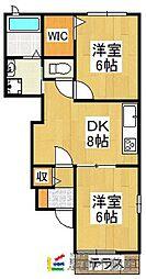 アンソレイユII[1階]の間取り