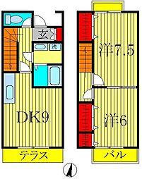 [テラスハウス] 千葉県柏市松ヶ崎 の賃貸【/】の間取り
