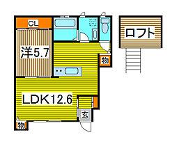 埼玉県戸田市中町1丁目の賃貸アパートの間取り