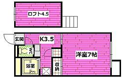 広島県広島市安芸区矢野西5丁目の賃貸アパートの間取り