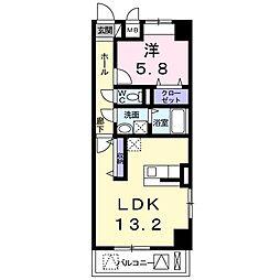 西田中町マンション[0201号室]の間取り