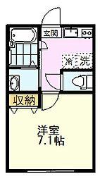 JR中央線 国分寺駅 徒歩10分の賃貸アパート 2階1Kの間取り
