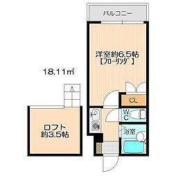モーリックス飯塚[203号室]の間取り
