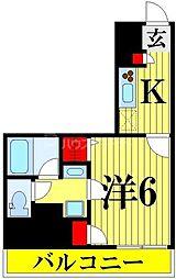 ナパージュ竹ノ塚駅前 9階1Kの間取り