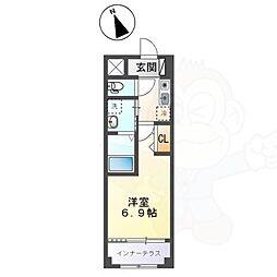 名古屋市営東山線 新栄町駅 徒歩6分の賃貸マンション 3階1Kの間取り