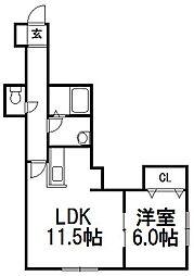 Mi・Calam白石(ミカラーム)[205号室]の間取り