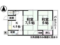 第一本岡荘[6号室]の間取り